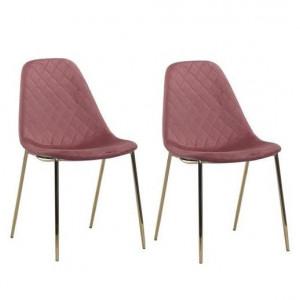 Set de 2 scaune Terry, catifea, roz inchis/ auriu