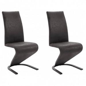Set de 2 scaune Ziri, microfibra/ metal, negru, 45x61x101 cm