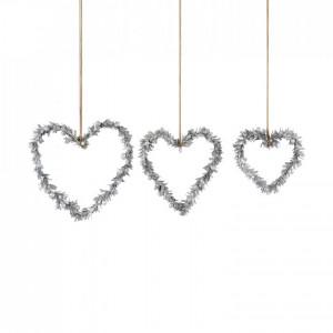 Set de 3 decoratiuni, argintii