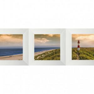 Set de 3 tablouri, portocaliu/albastru/verde, 23 x 70 x 2 cm