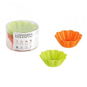 Set de 4 forme pentru briose, silicon, portocaliu/verde