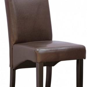 Set de 4 scaune de living Cambridge, piele sintetica maro, picioare lemn inchis