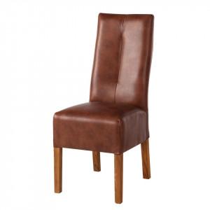 Set de 4 scaune Famera II din piele sintetica maro