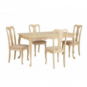 Set de 4 scaune, lemn masiv/MDF/poliester, crem