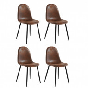 Set de 4 scaune Miller, tesatura/metal/decor stejar, maro antichizat, 44x52x87 cm