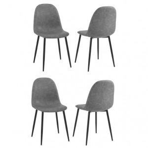 Set de 4 scaune Moody, piele ecologica/ metal, gri/negru, 87 x 44 x 45 cm