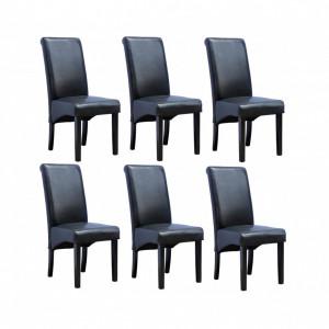 Set de 6 scaune de living Cambridge, piele sintetica neagra, picioare lemn inchis