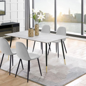 Set de living Monza Eadwine masa + 4 scaune, MDF, gri/marmura 160x90x76 cm