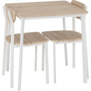 Set de masa cu 2 scaune Rosalie, lemn/ metal, maro deschis/ alb