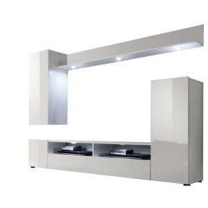 Set de mobilier pentru living Dominique, MDF, alb, 208 x 165 x 33 cm