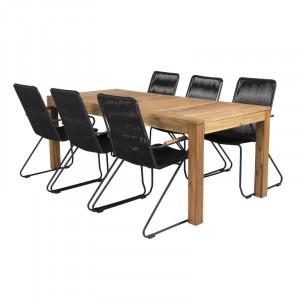 Set de o masa si 6 scaune Neil, lemn masiv, maro/negru
