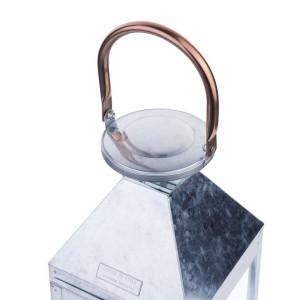 Suport lumanari PHUKET, metal/sticla, argintiu, 15 x 15 x 50 cm