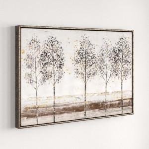 "Tablou ""Copaci"", maro/alb, 62,5 x 92,5 x 5,5 cm"