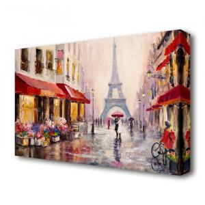 """Tablou """"Paris Streets"""", rosu/galben/gri, 66 x 101,6 cm"""
