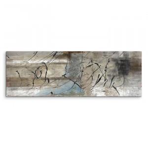 Tablou Abstrakt 722, gri/albastru, 50 x 150 x 2 cm