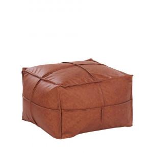 Taburet BORI, piele ecologica, maro, 73 x 73 x 46 cm