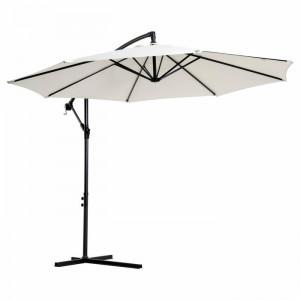 Umbrela de soare suspendata Wegate, alb/neagra, 300 cm