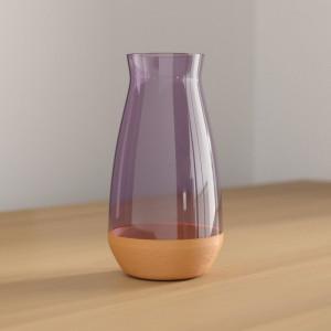 Vaza Walter, sticla, roz, 19 x 10 x 10 cm