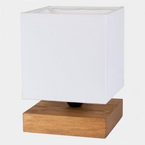 Veioza Marty VI, lemn/metal, maro/alba, 15 x 22 x 15 cm
