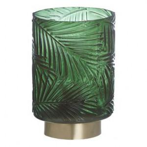 Veioză Wadia cu frunze tropicale, sticlă, 10x10x14.5cm