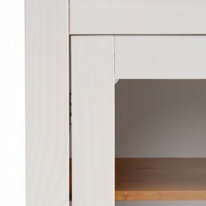 Vitrina Selma lemn masiv de pin, alb/natur, 180 cm