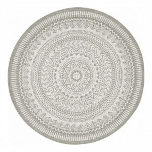 Covor rotund din fibre sintetice Bamberg gri/alb, diametru 120cm, grosime 1cm
