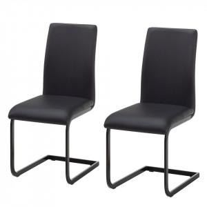 Set de 2 scaune Bjora din piele sintetica, negru