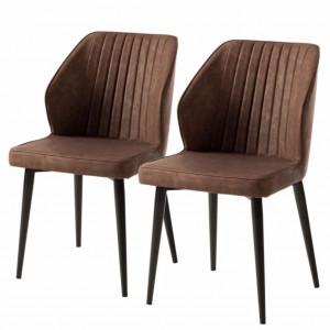 Set de 2 scaune Watson, piele sintetica/metal, maro