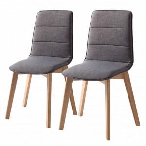 Set de 2 scaune Vallrun, tapitat, gri inchis