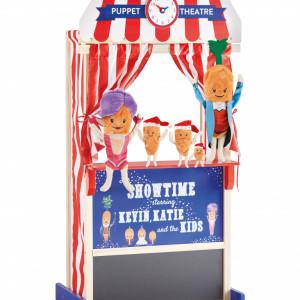 """Teatru de păpuși din lemn cu 5 morcovi de plus din colecția """"Kevin the Carrot"""""""