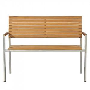 Banca Teakline Exklusiv lemn masiv/ otel inoxidabil, maro, 125 x 86 x 55 cm