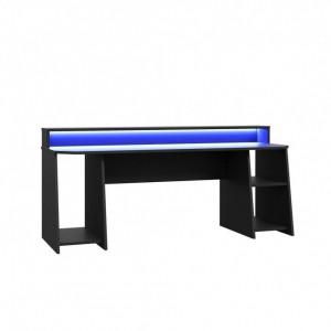 Birou de gaming Tezaur 5B, LED, negru, 200 x 91 x 72 cm