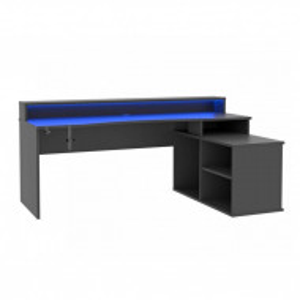Birou de gaming Tezaur, LED, negru, 200 x 125,5 x 91 cm