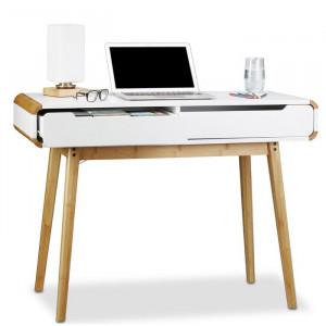 Birou Egbert, lemn, alb/maro, 73,5 x 100 x 45 cm