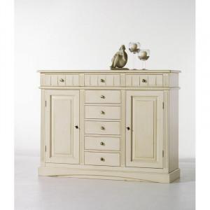 Bufet Acker, lemn masiv, alb, 114 x 148 x 47 cm