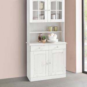Bufet vitrina Sylt 2 usi - din lemn de pin - alb 84/28-35/180 cm