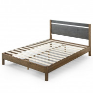 Cadru de pat Prins, lemn masiv, maro/gri, 97 x 140 x 200 cm