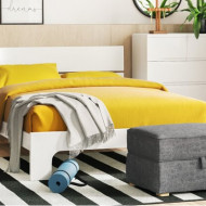 Cadru pat Howard din MDF, alb, 141 x 207