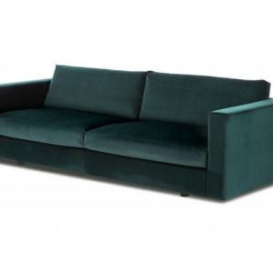 Canapea Balmira cu 3 locuri din catifea verde închis, 240 x 76 x 96 cm
