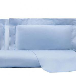 Cearsaf drept de pat si 2 fete de perna Unito albastru, matrimoniala