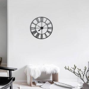 Ceas de perete, metal, negru, 80 x 80 x 3 cm