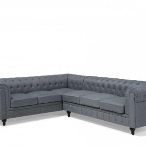 Coltar Chesterfield, textil, gri, 77 x 280 x 85 cm