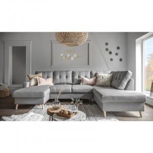 Coltar extensibil Lorraine, textil, gri deschis, 90 x 290 x 198 cm