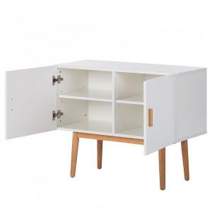 Comoda Lindholm II, MDF/lemn masiv, alb