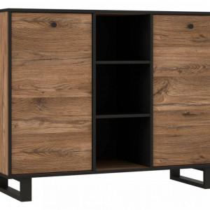 Comoda Sewill, lemn masiv, maro/negru, 114,9 x 42 x 88,2 cm