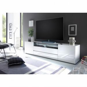 Comoda TV Callwell Mavie alb lucios/negru 203 cm