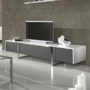 Comoda TV Emelia, alb/gri, 224 x 48 x 58 cm