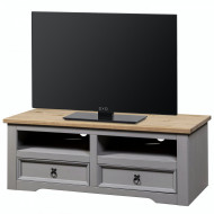 Comoda TV Finca Rustica I pin masiv, gri, 120 x 46 x 51 cm