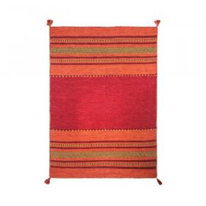 Covor Chinn din lana, realizat manual, rosu, 130 x 190 cm