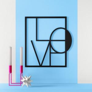 Decor de perete Big Love, negru, 49 x 45 cm